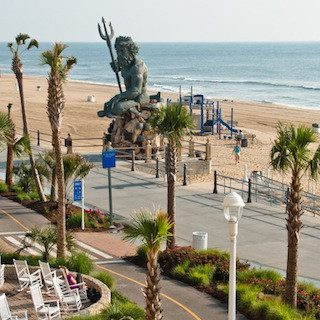 Oceanfront boardwalk  and the King Neptune