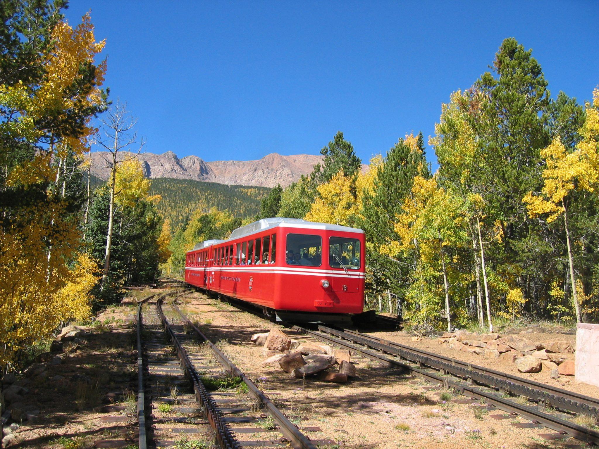 The Pikes Peak Cog Railway takes you to the 14,115′ summit of Pikes Peak