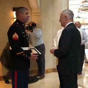 Gen. James Mattis greeted by 1/9 President Richard Garcia